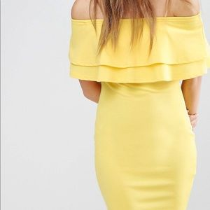 Yellow off of the shoulder ruffle top dress